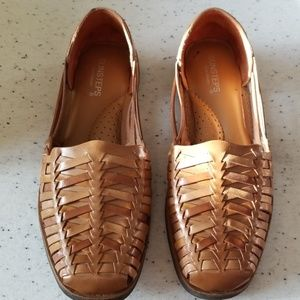 Sunsteps slip on wovenbrown leather shoes size 8.5